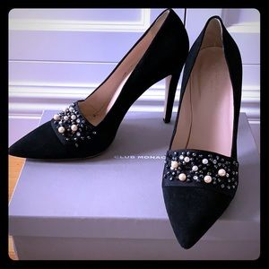 Embellished Black suede single sole pump